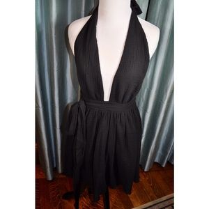 Free People Black Plunging Neckline Dress